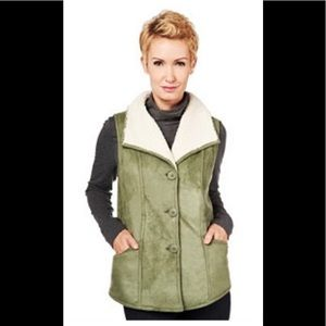 Faux Suede Vest with Wide Collar & Sherpa Lining